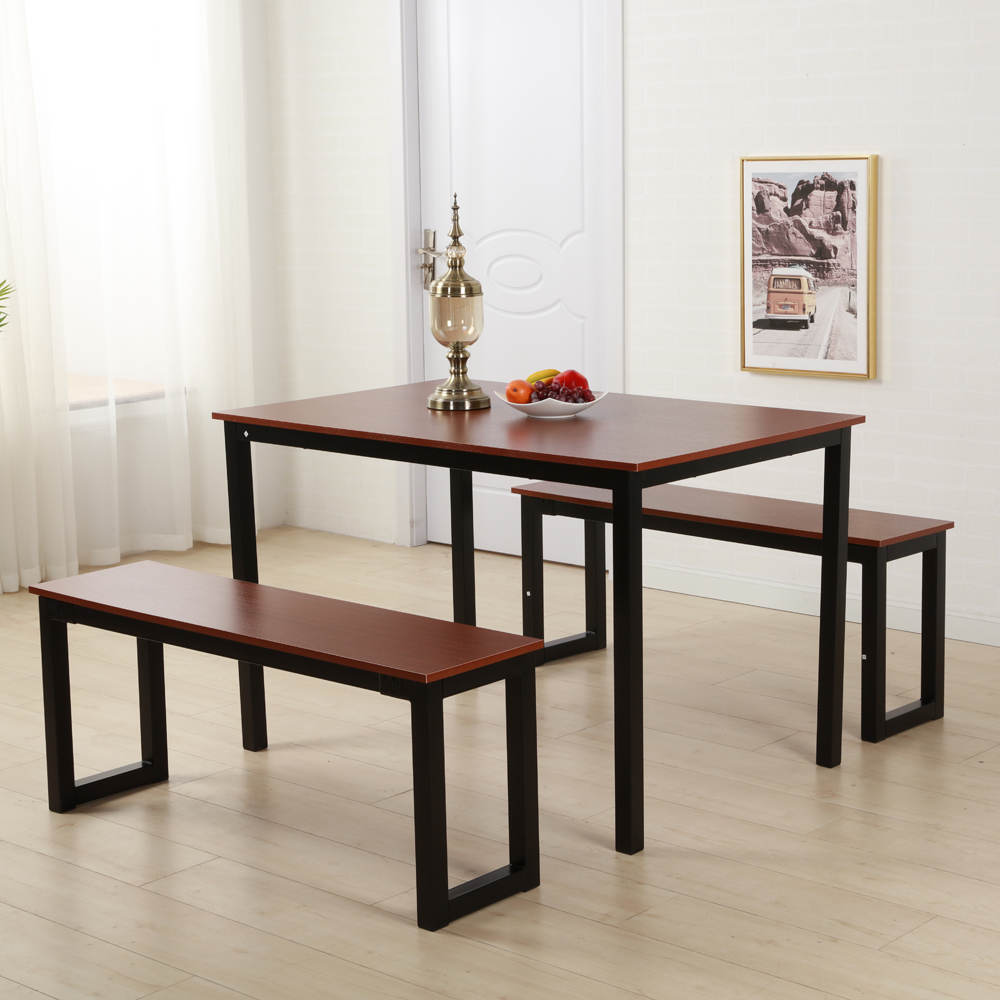 Modern Dining Table With Two Benches 3 Piece Set Kitchen Steel
