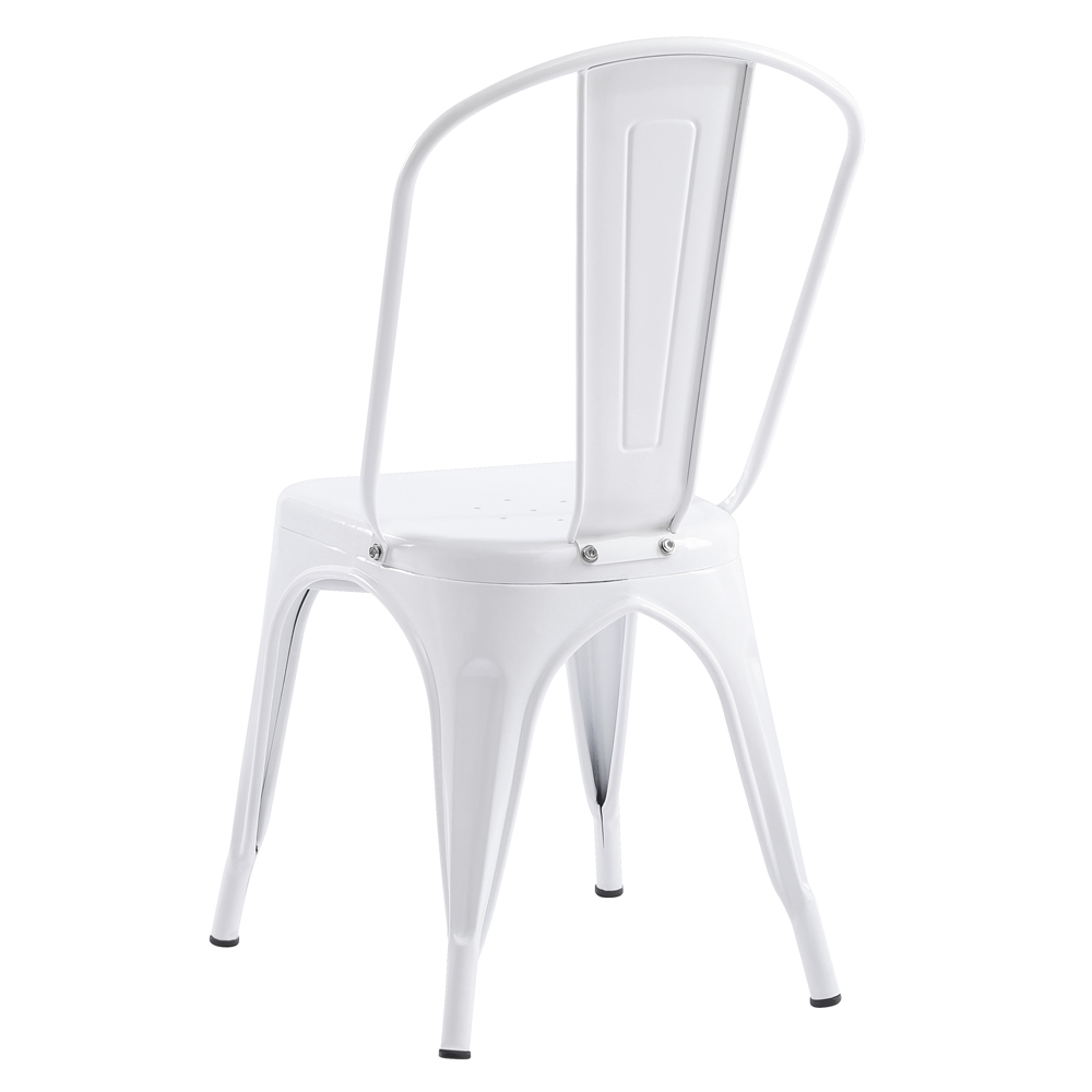 Details About 4PCS Industrial Metal Dining Side Chairs Stackable Coffee  Tolix Style White NEW